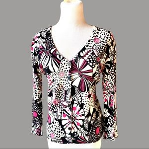 Nicole Miller Cardigan Retro Abstract Floral Sz M